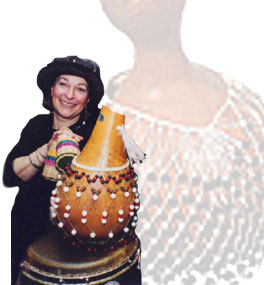 Susan Hendrickson, one of Tofaah's female percussionists