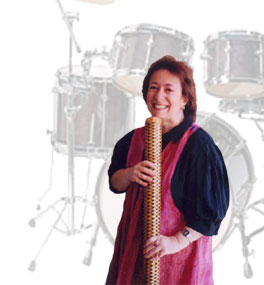 Jessie Schechter, one of Tofaah's female percussionist